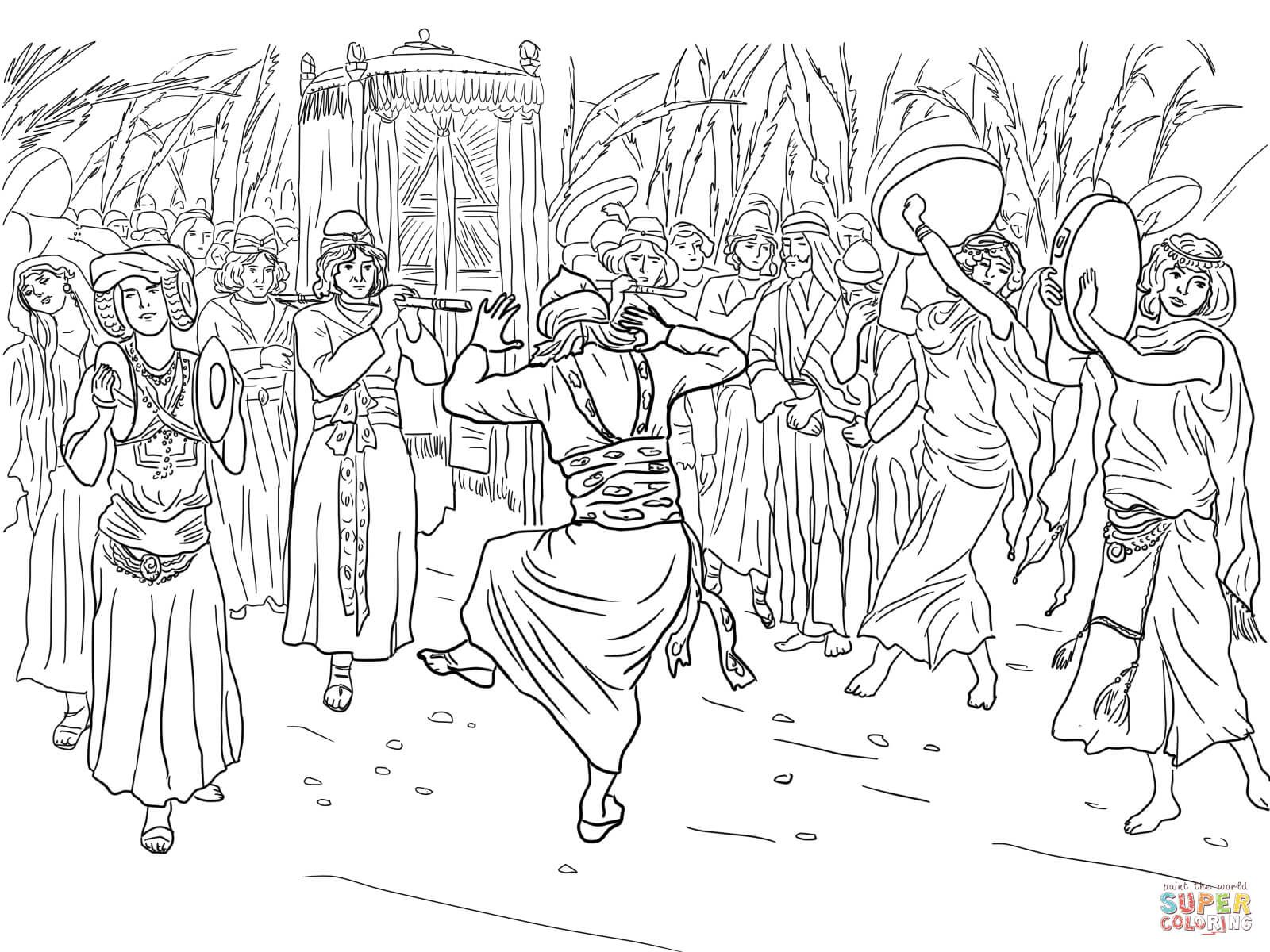 King David Dancing Before The Ark Of Covenant Coloring Page From