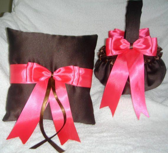 Custom colors chocolate brown hot pink flower girl basket ring custom colors chocolate brown hot pink flower girl basket ring bearer pillow wedding mightylinksfo