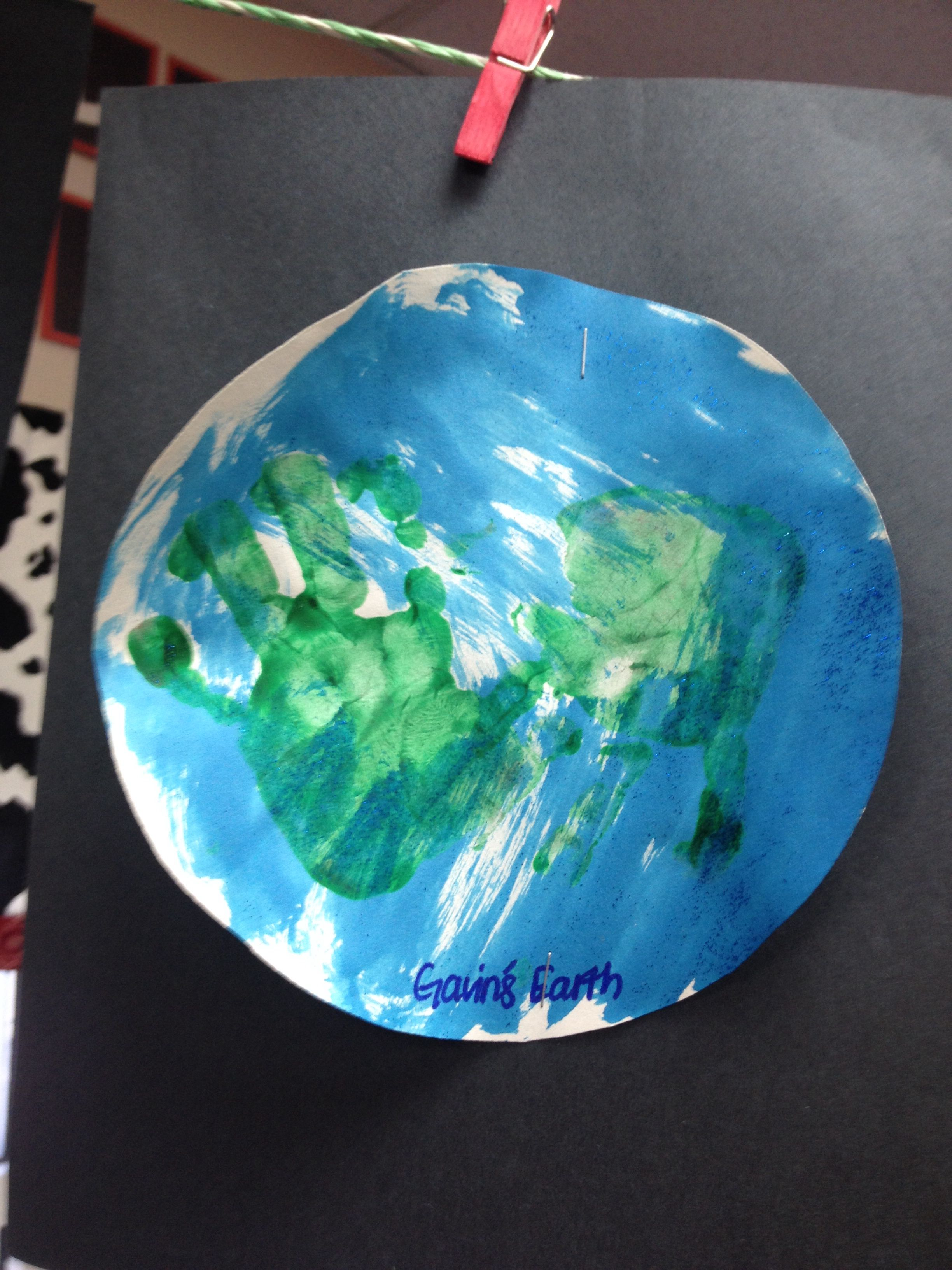 Planet Earth Art Water Color With Blue For Ocean And Put