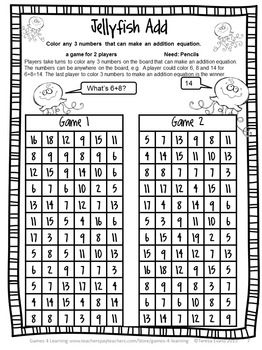 Free End Of Year Math And Literacy Games Summer Activities Packet Summer Math Teaching Math Learning Math Maths games worksheets year 4