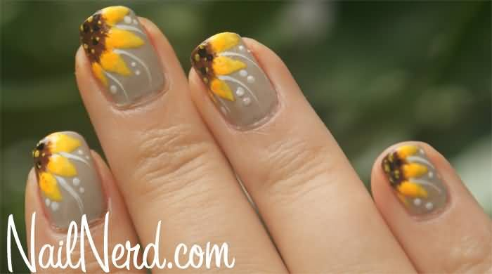 French Yellow Sunflower Flower Nail Art Design - French Yellow Sunflower Flower Nail Art Design MAKE UP AND NAILS