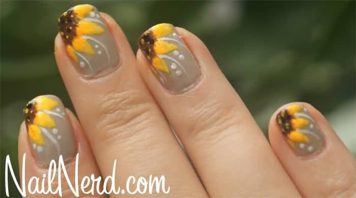 French Yellow Sunflower Flower Nail Art Design - French Yellow Sunflower Flower Nail Art Design Nails Pinterest