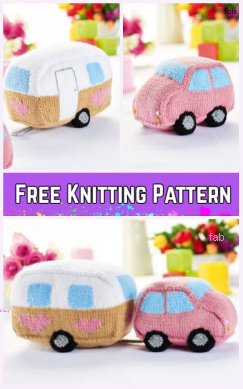 Knit Car Caravan Toy Set Free Knitting Pattern Knitting Bits And