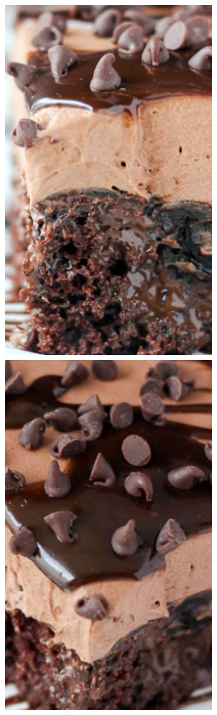 Triple Chocolate Poke Cake ~ This mouthwatering sinful cake is a chocolate cake,... - Desserts -