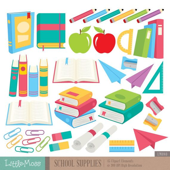 School Supplies Digital Clipart Books Clipart Pencil Clipart