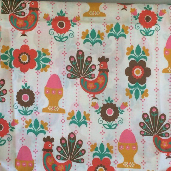 Vintage Kitchen Print Fabric With Roosters And Egg Cups I Had Some Of This In A Diffe Colorway It S Probably Cotton Poly Blend