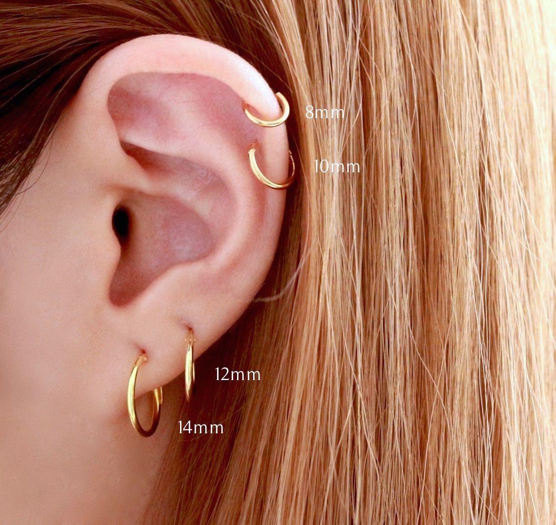 d1187a3ec 8mm Hoop Earring | Percing | Przekłuwanie uszu, Kolczyki, Biżuteria
