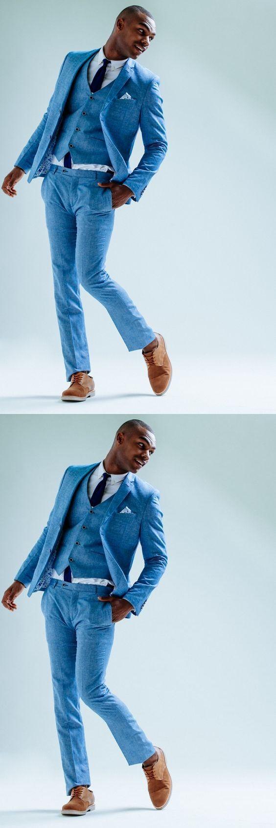 2017 Summer Blue Linen Beach Wedding Suits 3 Pieces Groom Tuxedos ...
