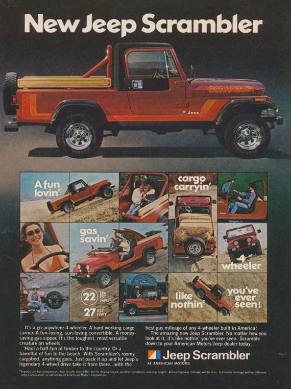1981 Jeep Scrambler Red Sporty Pickup Truck Vintage Advertisement