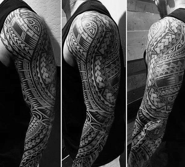 Full Arm Sleeve Guys Polynesian Tribal Tattoo Ideas