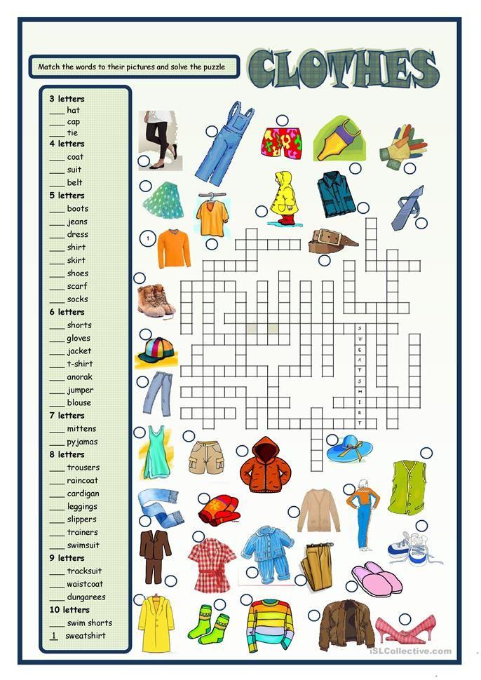 Clothes Fichas de trabalho, Exercícios de inglês