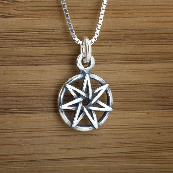 Sterling silver small faerie star heptagram charm necklace or sterling silver small faerie star heptagram charm necklace or earrings aloadofball