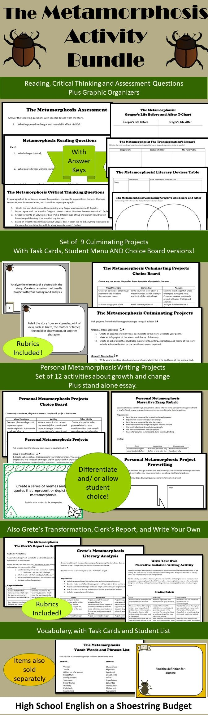 the metamorphosis activity bundle franz kafka pdf graphic money saving bundle of activities for teaching the metamorphosis by franz kafka