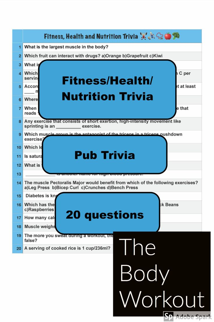 A set of 20 fitness health and nutrition trivia questions