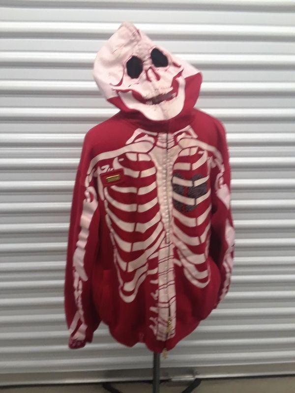 Lrg Dead Serious Skeleton Hoodie 2xl Red Kanye For Sale In San