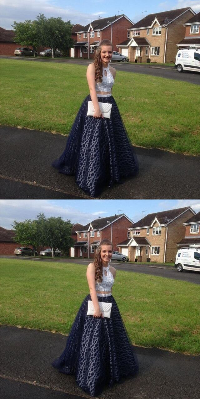 Two piece prom dress modest beautiful vintage cheap long prom dress