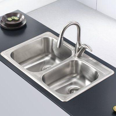 33 x 22 kitchen sink appliance set kraus stainless steel l w double basin drop in