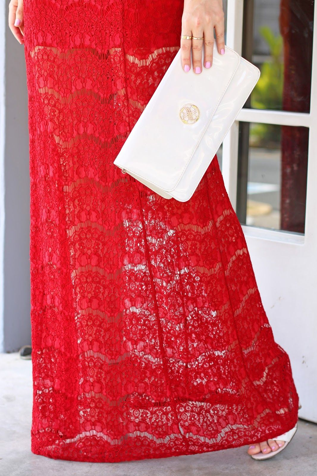 Gorgeous red lace maxi dress