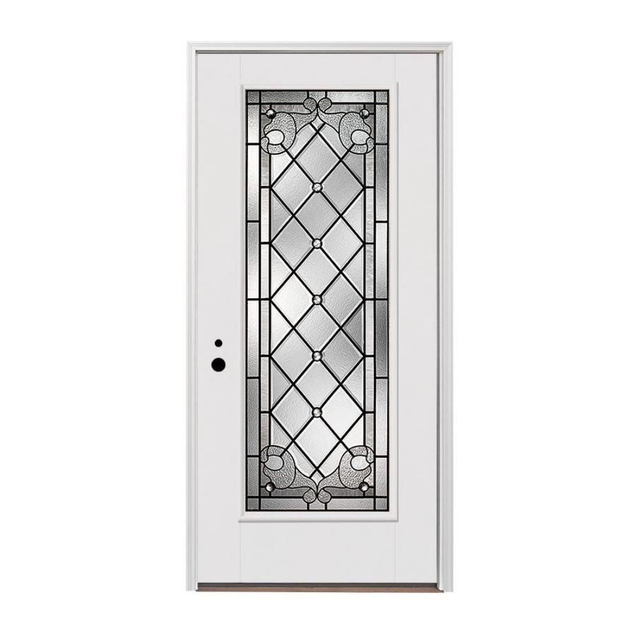 Pella 1 Panel Insulating Core Full Lite Right Hand Inswing Fiberglass Painted Prehung Entry Door Common 36 In X 80 In Entry Doors White Interior Paint Pella