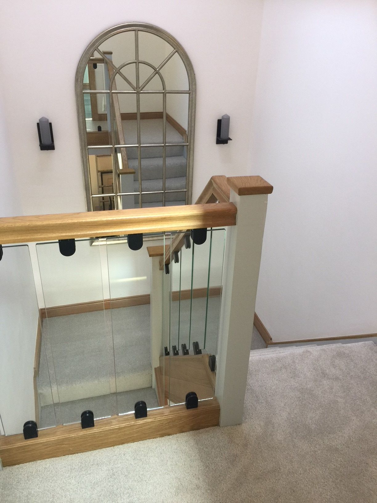 Staircase upgrade idea Toughened glass spindle panels