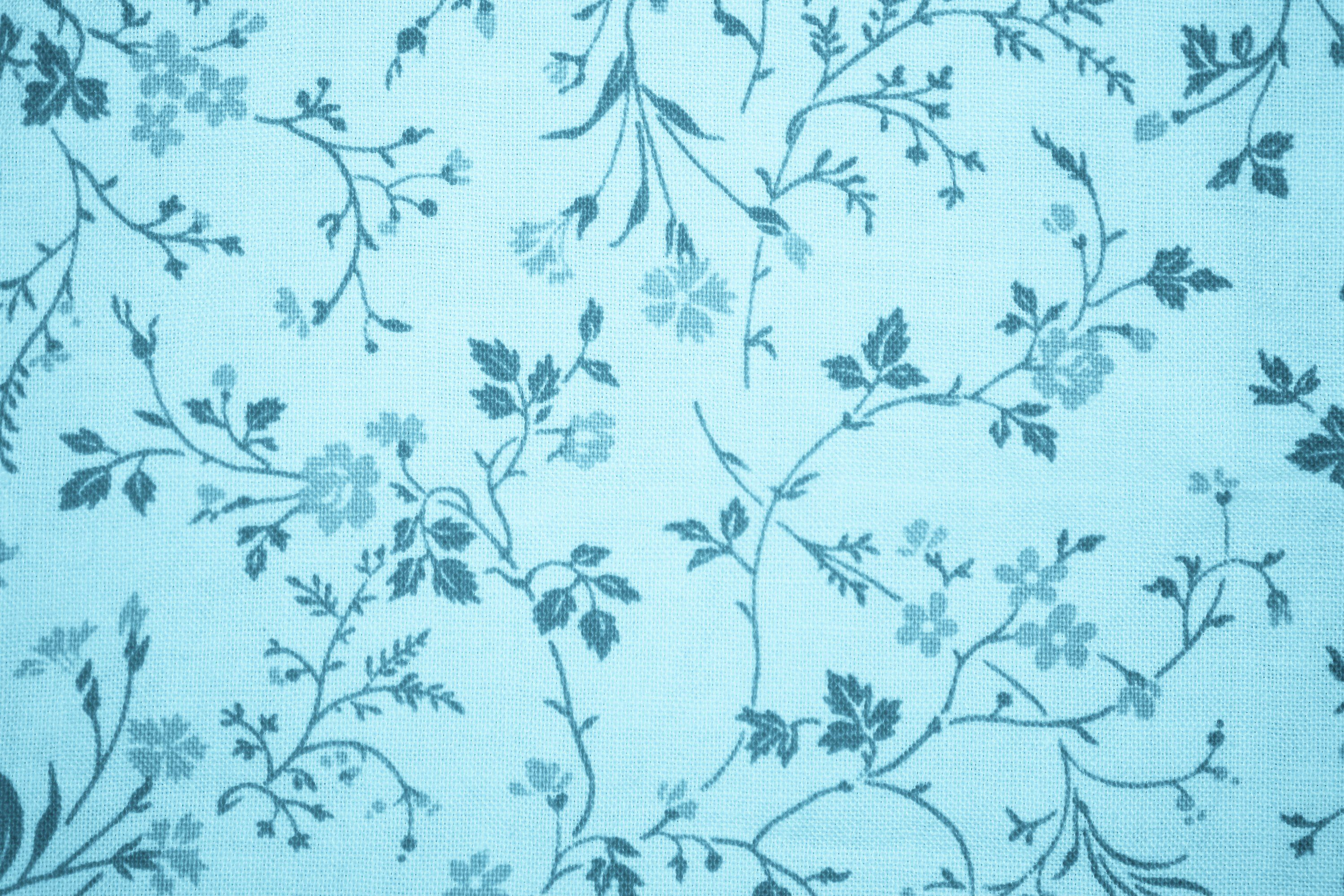 Best Light Blue Floral Print Fabric Texture Цветочные Обои 640 x 480
