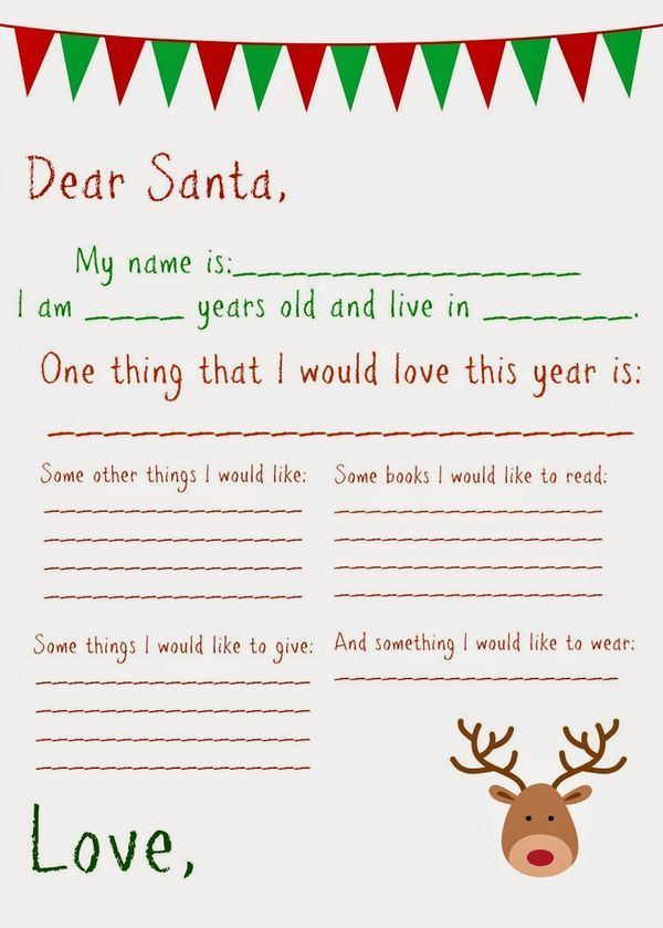 Dear Santa Letter Free Printable Father Christmas Letters