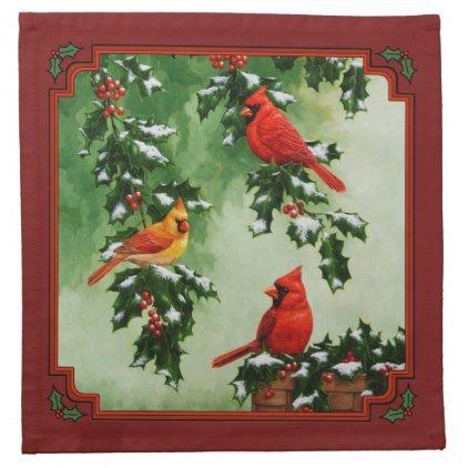 cardinals and christmas lights sky blue napkin xmas christmaseve christmas eve christmas merry xmas family kids gifts holidays santa