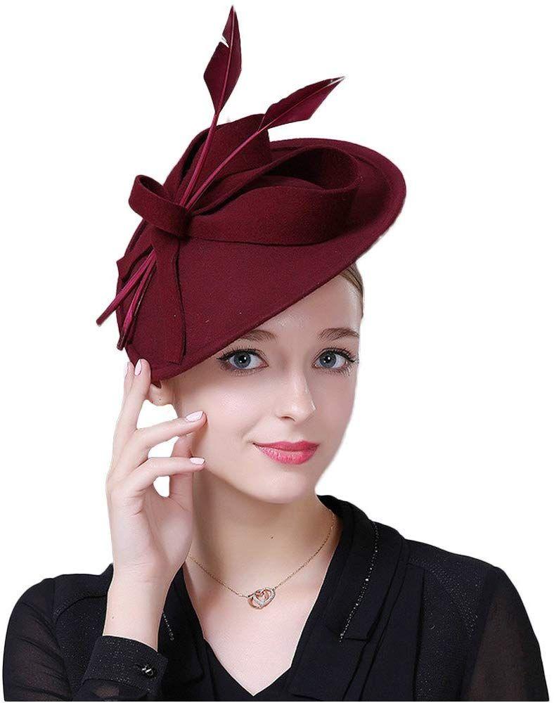 F FADVES Tea Party Fascinators for Women Weddings Pillbox Hat Straw Fedora Church Dress Derby Hats
