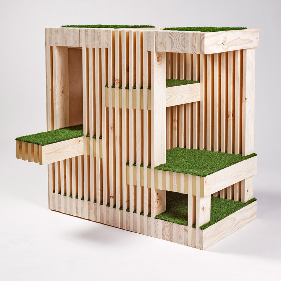 Architects for animals cat shelters fixnation designboom - Casas para gatos de madera ...