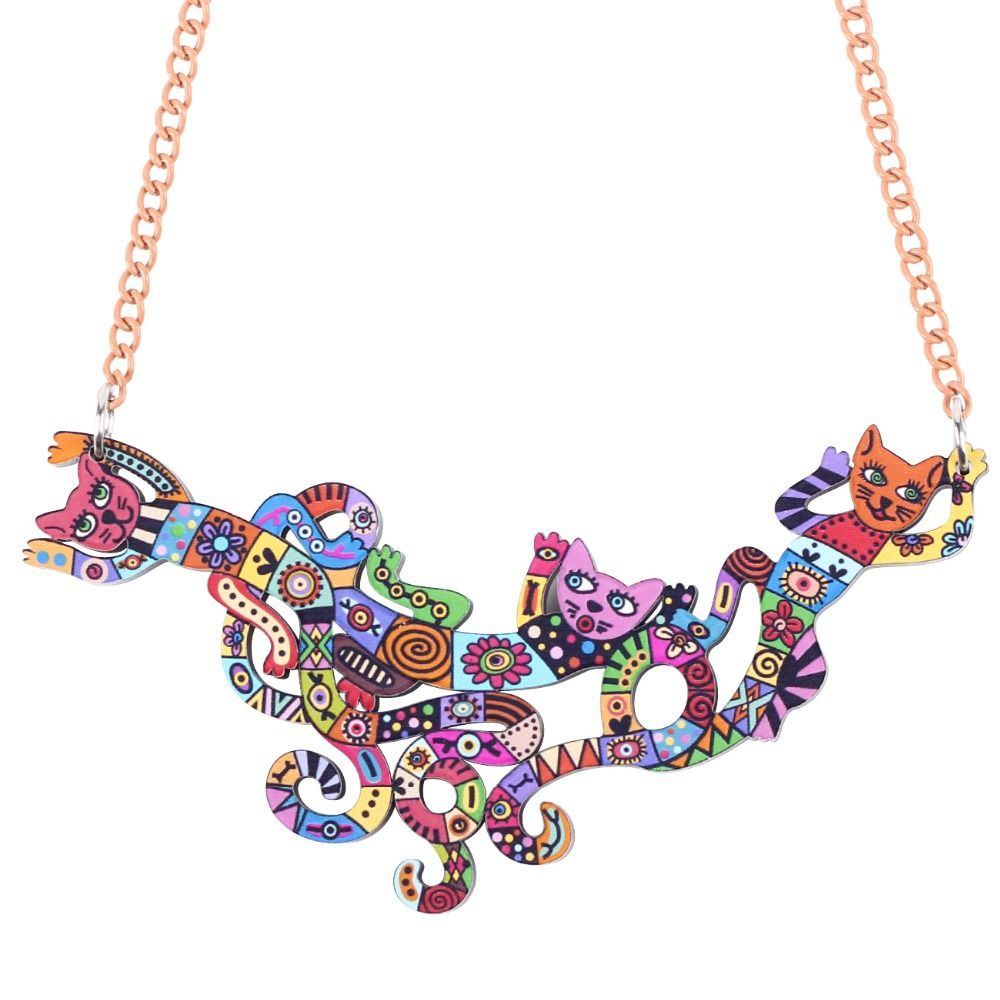 Bonsny Cat Necklace Acrylic Brand 2016 New Pendant Accessories Autumn Winter…
