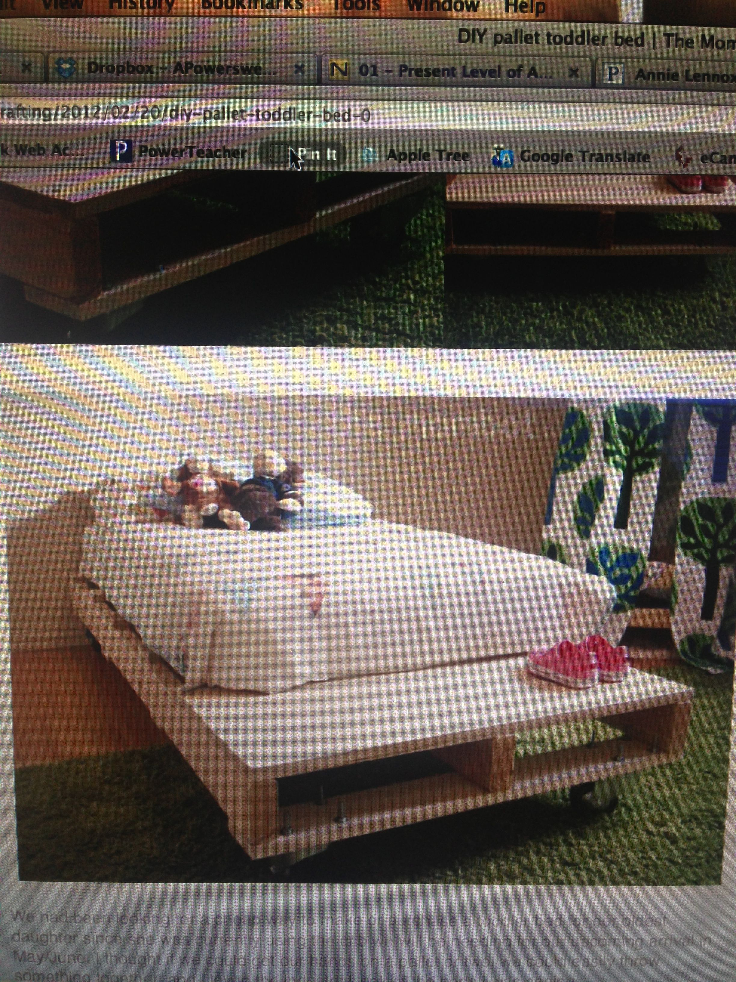 faux pallet toddler bed on casters.  themombot.com/crafting/2012/02/20/diy-pallet-toddler-bed-0
