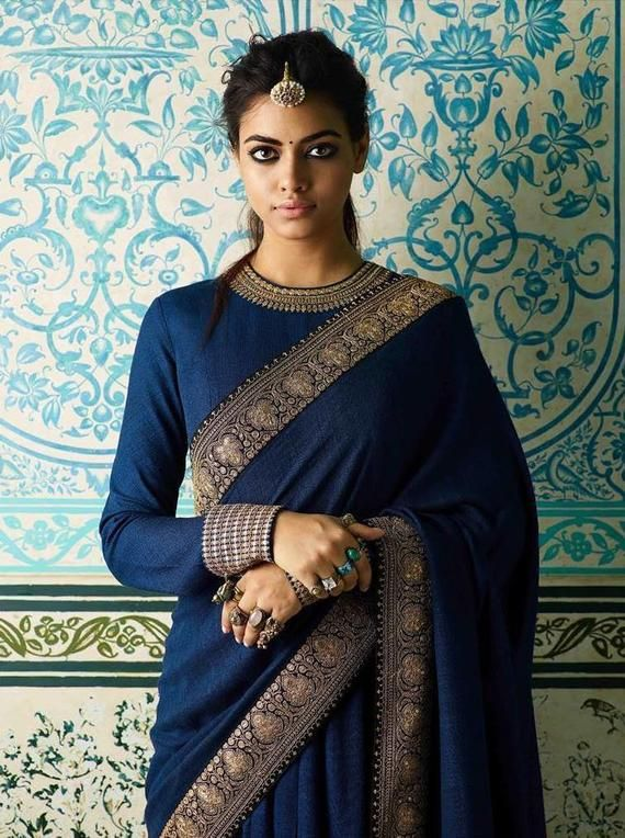 Navy Blue Saree Embroidered Lace Border With Readymade Blouse | Etsy