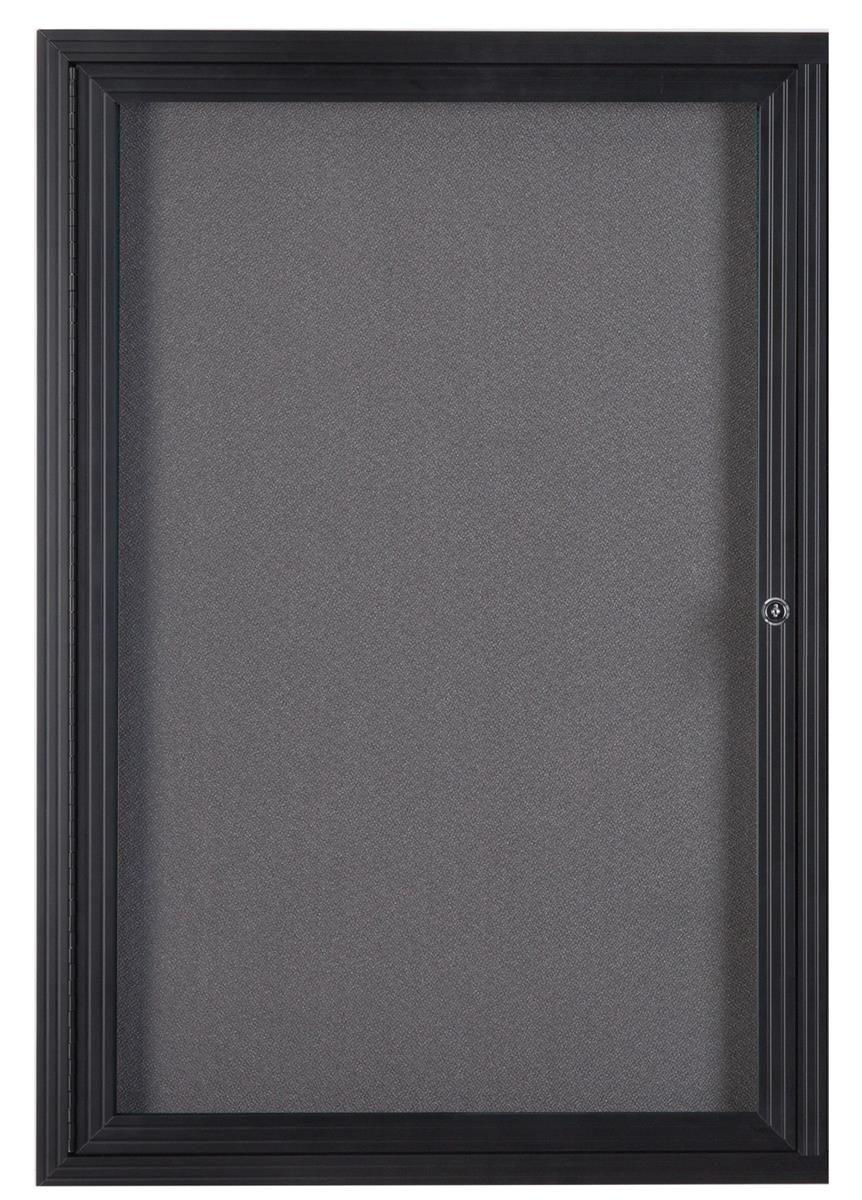 24 X 36 Enclosed Bulletin Board With Locking Door Black With Gray Fabric Fabric Corkboard Diy Busy Board Cork Board