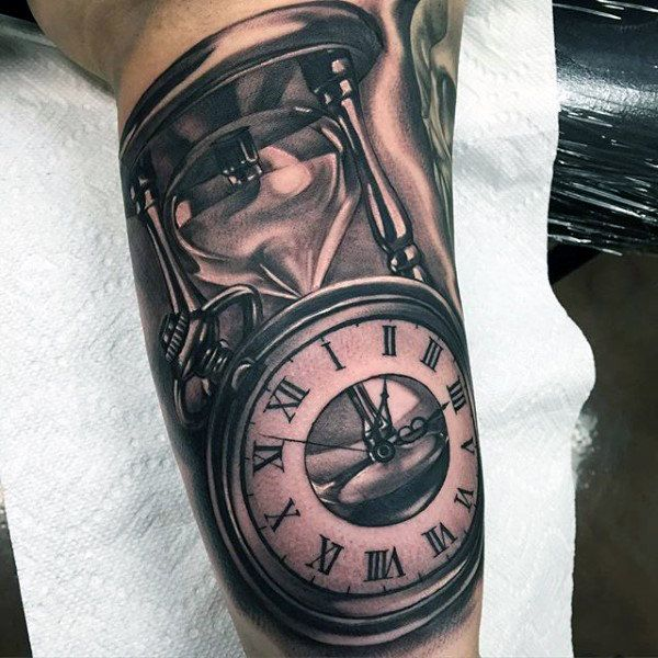 Clock And Hourglass Realistic Mens Upper Arm Tattoos Hourglass Tattoo Watch Tattoos Clock Tattoo