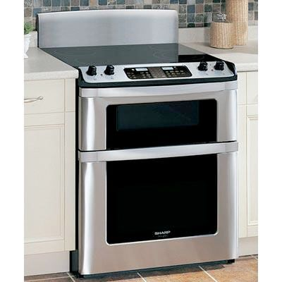 Sharp Freestanding Electric Range With Microwave Drawer Auto Opening True European Convection Cooking Front Mounted Glas