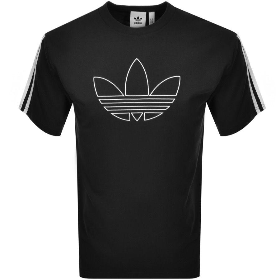 Adidas Originals Black Outline Trefoil T shirt | Black shirt