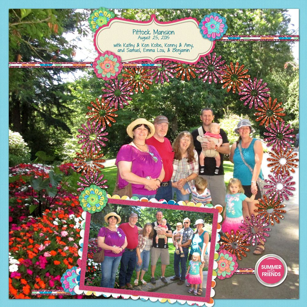 How to scrapbook with glitter - Friends Of Summer Digital Scrapbook Kit Summer Scrapbook Layout Summer Scrapbook Page Glitter