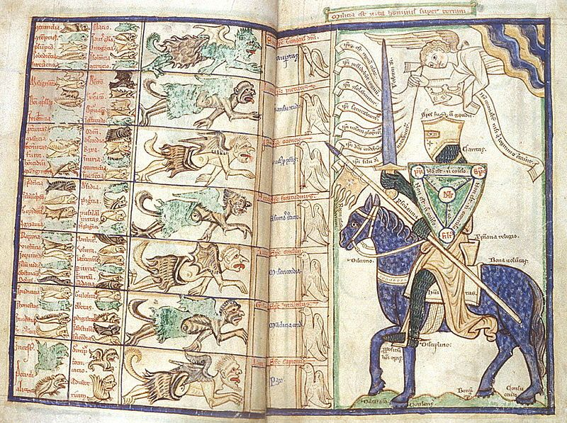 "Harleian ms. 3244, folios 27-28, Summa Vitiorum or ""Treatise on the Vices"" by William Peraldus, ca. 1255-1265, knight preparing to battle the seven deadly sins with the ""Scutum Fidei"" ."