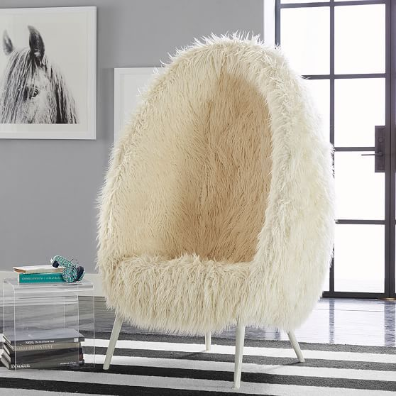 Ivory Furlicious Faux-Fur Cave Chair