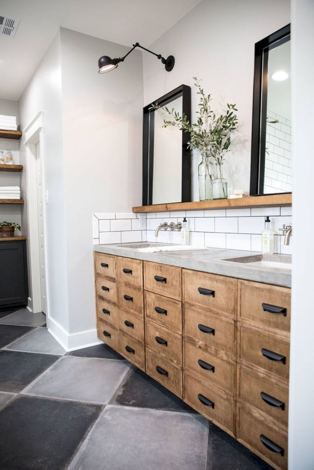 Feel With Black Accessories And Natural Wood Bathroom Vanity Remodel Farmhouse Master Bathroom Bathroom Remodel Master