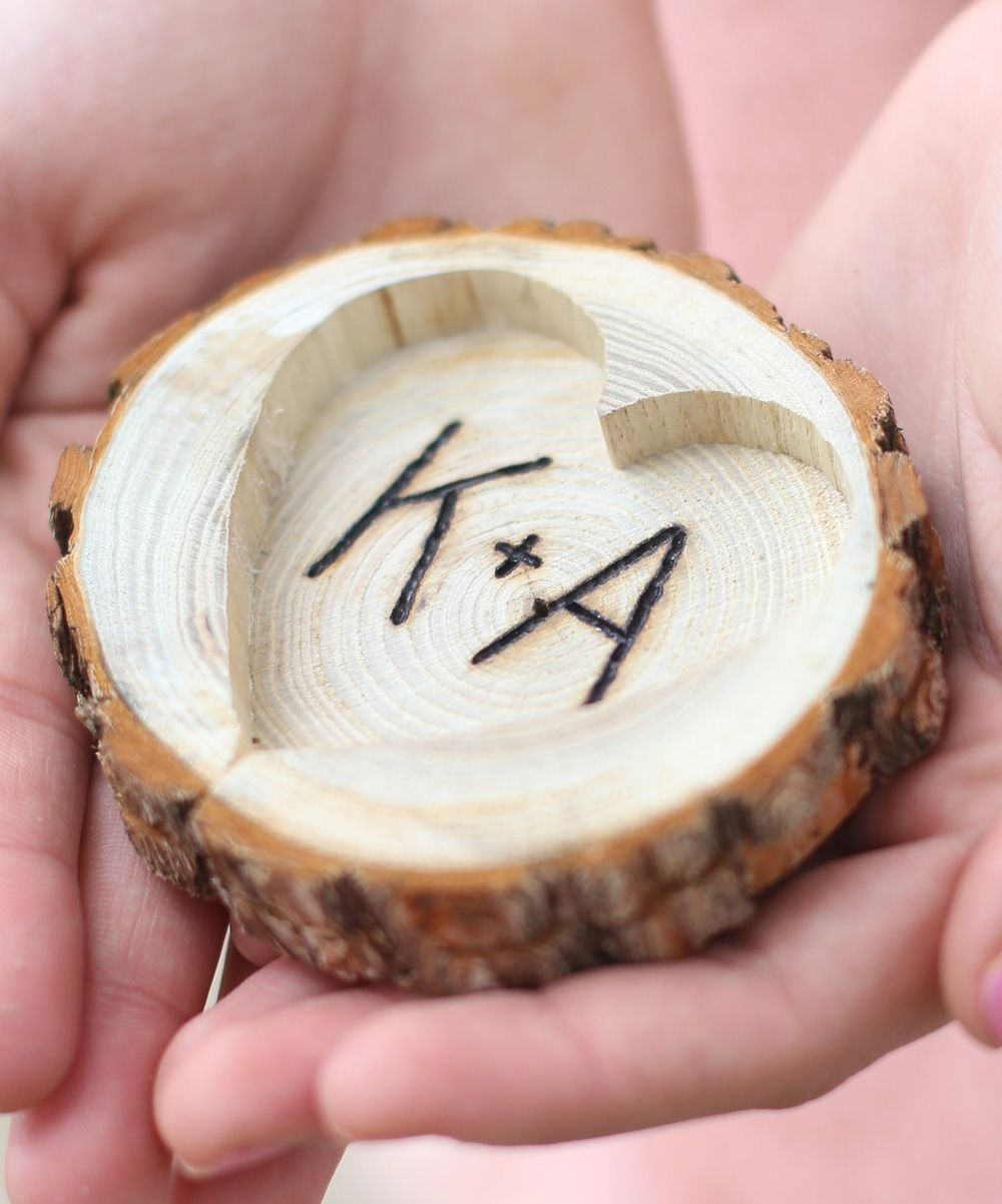 Morgann Hill Designs Personalized Tree Slice Ring Holder Personalized Tree