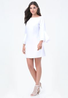 Trumpet Sleeve Shift Dress