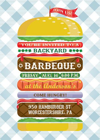 Stacked Hamburger Bbq Invitation  Bbq