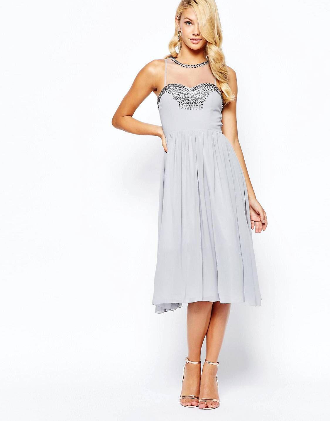 Little Mistress luxusní šedé šifónové šaty. Discover the latest fashion  trends with ASOS. LOVE this from ASOS! a0a6d3edaa