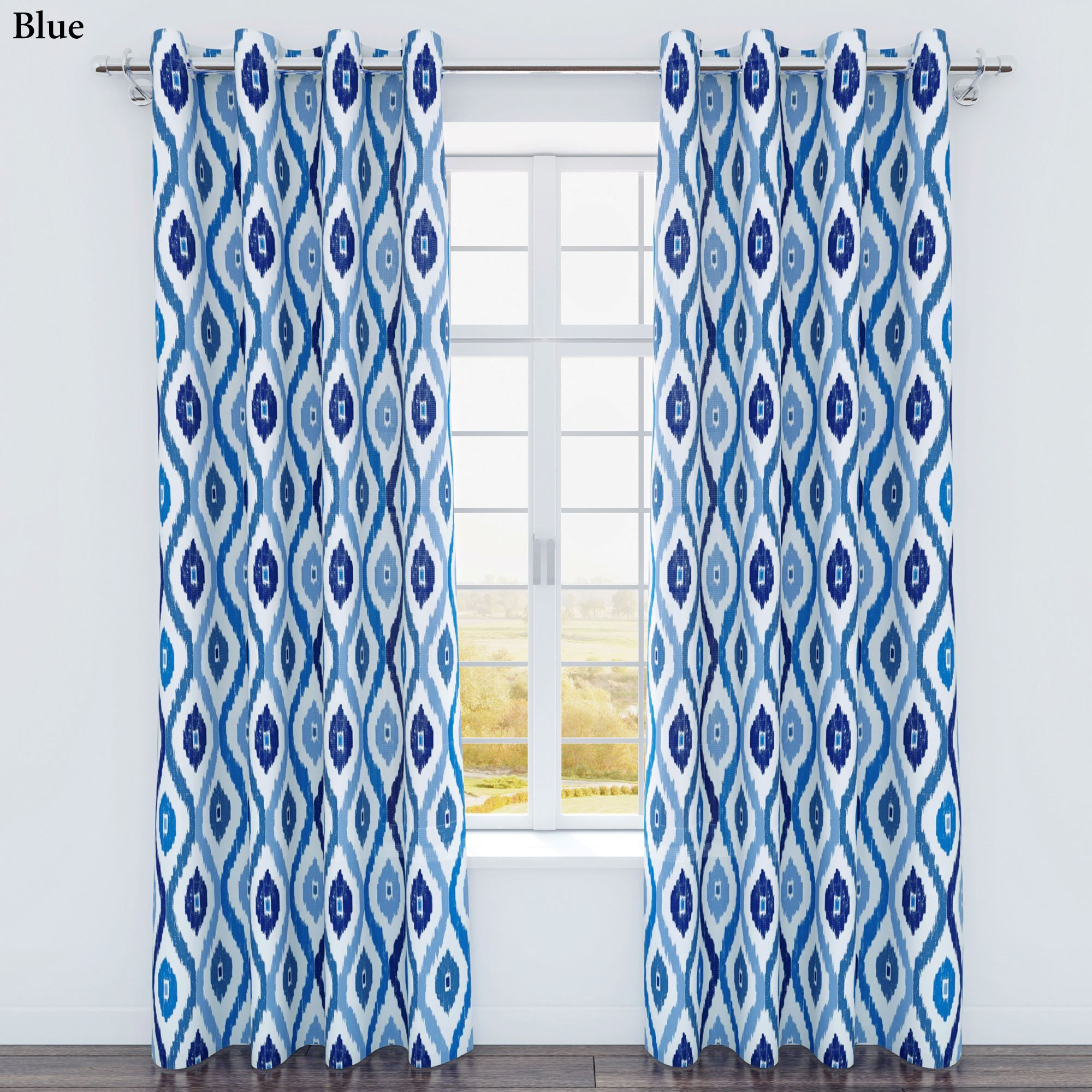 Ikat curtain panels - Luna Ikat Medallion Grommet Curtain Panels