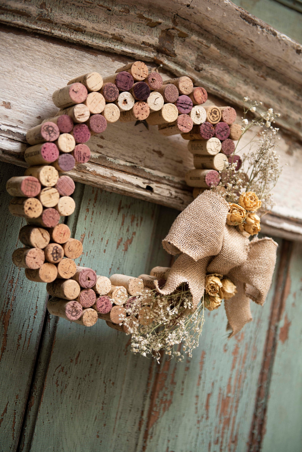 Beautiful Wine Cork Wreath - One of a Kind - Dried
