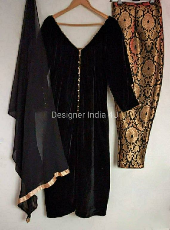 Designer Indian Pakistani Black Velvet Brocade Salwar Kameez Suit Dupatta Custom stitched for Stitch
