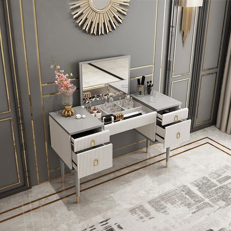 4 Drawer Makeup Vanity Table With Flip Top Mirror White Gray In 2020 Makeup Table Vanity Vanity Table Makeup Vanity