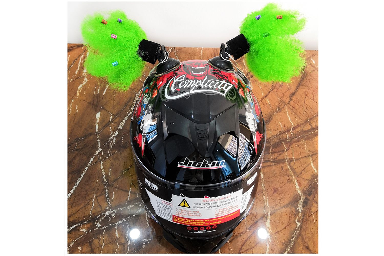 Helmet Pigtails 14inch Helmet Ponytail Bow Decoration for Motorcycle Bicycle