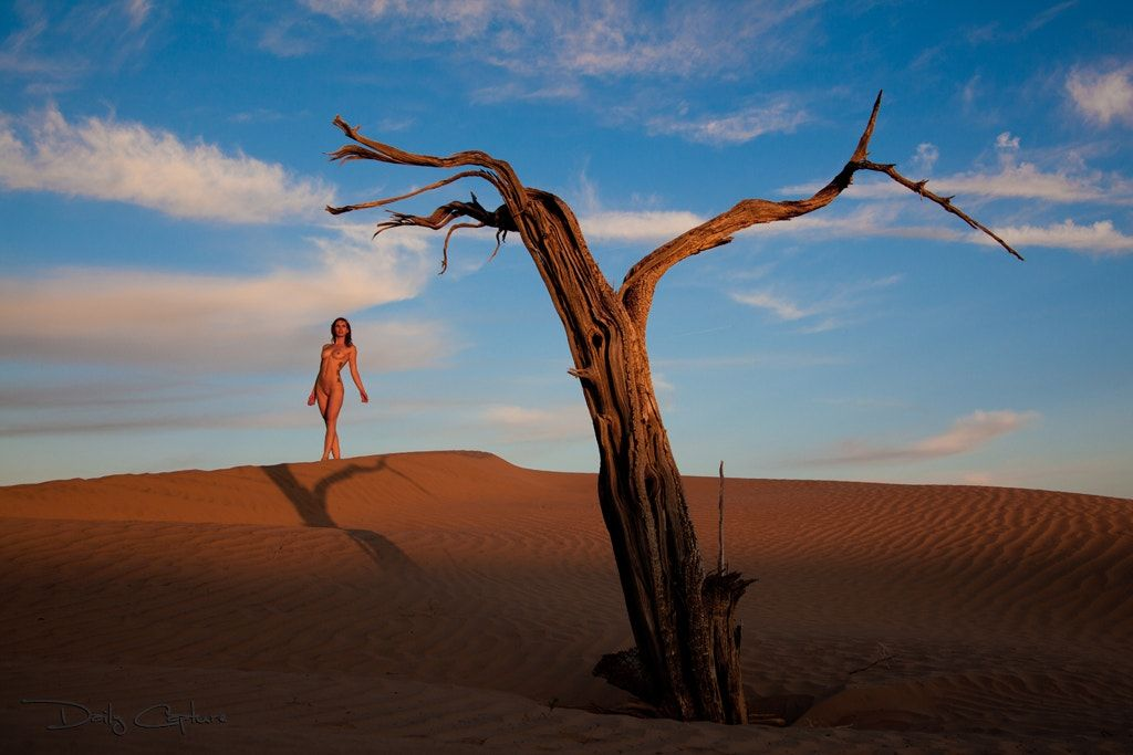 """Last Light - """"Last Light"""" Central Utah, USA 1205-1-5391  Last light of the day, as sunset rages in Central Utah's sand dunes. Professional model poses among the shadow ripples."""